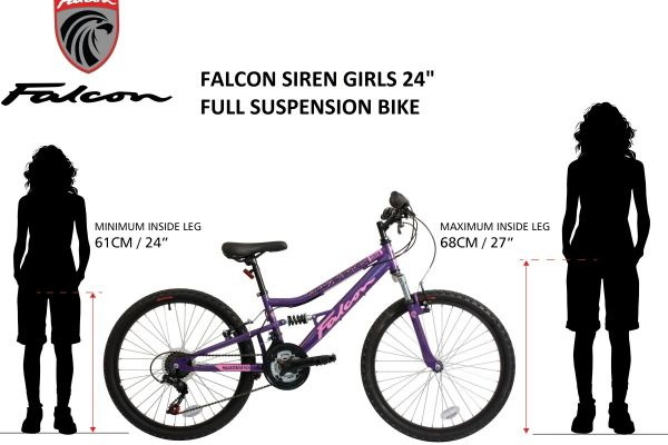 """The stunning Falcon Siren 24"""" Full Suspension mountain bike has been designed specifically for junior riders looking for a great ride combining style and performance. Unlike many others, Falcon design their junior full suspension bikes with an un-interrupted frame meaning that it can accommodate a longer seat-post and provide greater adjustment as any youngster grows. Unlike old fashioned Y-frames, this provides a much greater range of adjustment and allows for a stronger frame and more enjoyable ride. The geometry of the frame has been designed specifically for a younger rider to make the riding position ideally suited, not just a small version of an adult bike, whilst the hi-tensile steel construction provides a strong and hard-wearing frame.The front suspension fork and rear shock absorber, which is set to the weight of a younger rider, soaks up bumps when riding, making for a more enjoyable ride on rougher terrain. The striking graphics jump out from the high gloss black frame and forks, and the silver rear suspension section. The matching Falcon branded saddle ties in to the strong vibrant graphics of the frame and has extra padding for improved comfort. As well as being great to look at, the Siren has a great spec to match. 18-speed gearing is powered by a Shimano branded rear derailleur and light action Shimano Revo-shift rotational shifters, creating smooth gear changing whilst never having to remove your hands from the handlebars. MTB style pedals provide re-assuring grip and the soft compound handlebar grips are a pleasure to hold. Braking is supplied by reliable front and rear V-brakes which are controlled by reach-adjustable brake levers so they can be shortened to accommodate smaller hands. The Falcon Siren is ideally suited to grow with any young rider thanks to the 200mm seat post and quill handlebar stem which provides ample height adjustment. Saddle rail adjusters provide further room to refine the set-up by allowing the saddle to be moved backwards"""